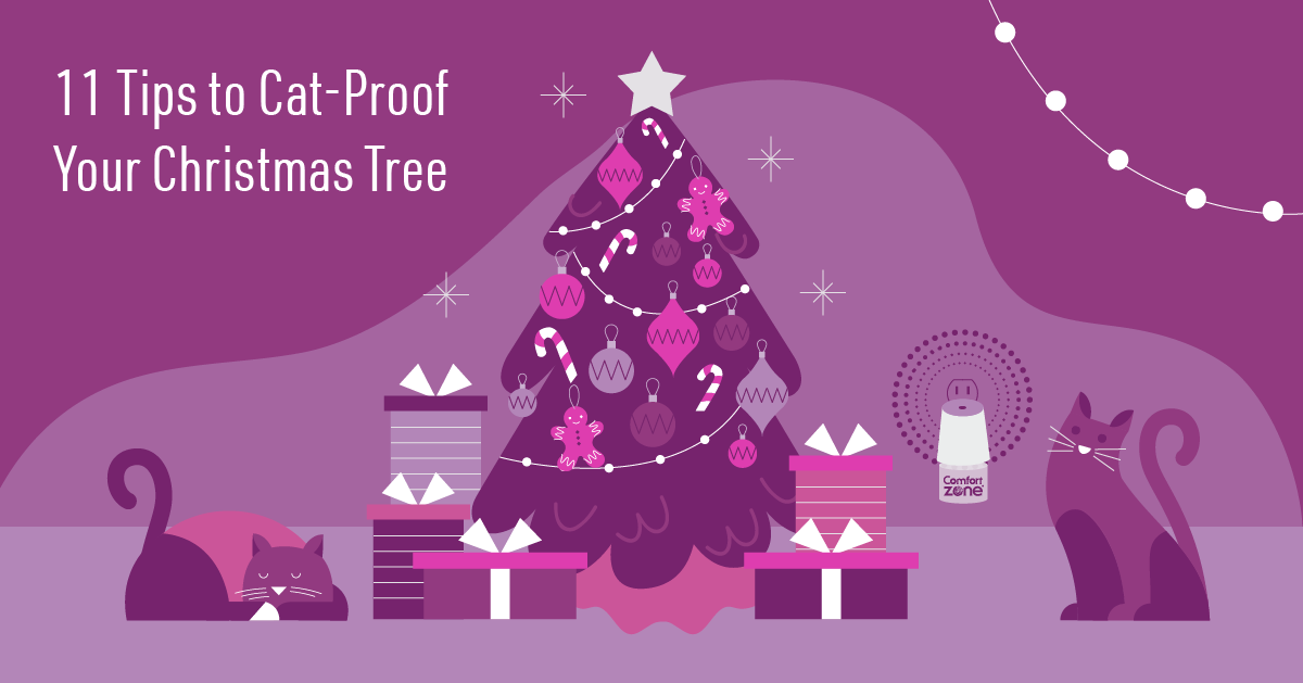 11 Tips To Cat-Proof Your Christmas Tree illustration